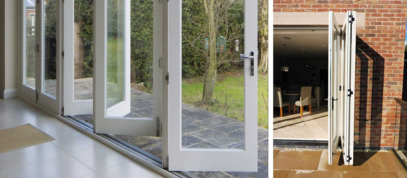 Tutbury bifolding door by Gowercroft Joinery main product image showing patio doors open from inside and outside