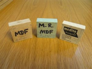 Blocks of different types of mdf wood
