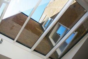 stained wood window frames in skylight