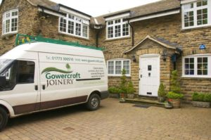 The Gowercroft van outside a lovely house in Dore, South Yorkshire, fitting wooden windows