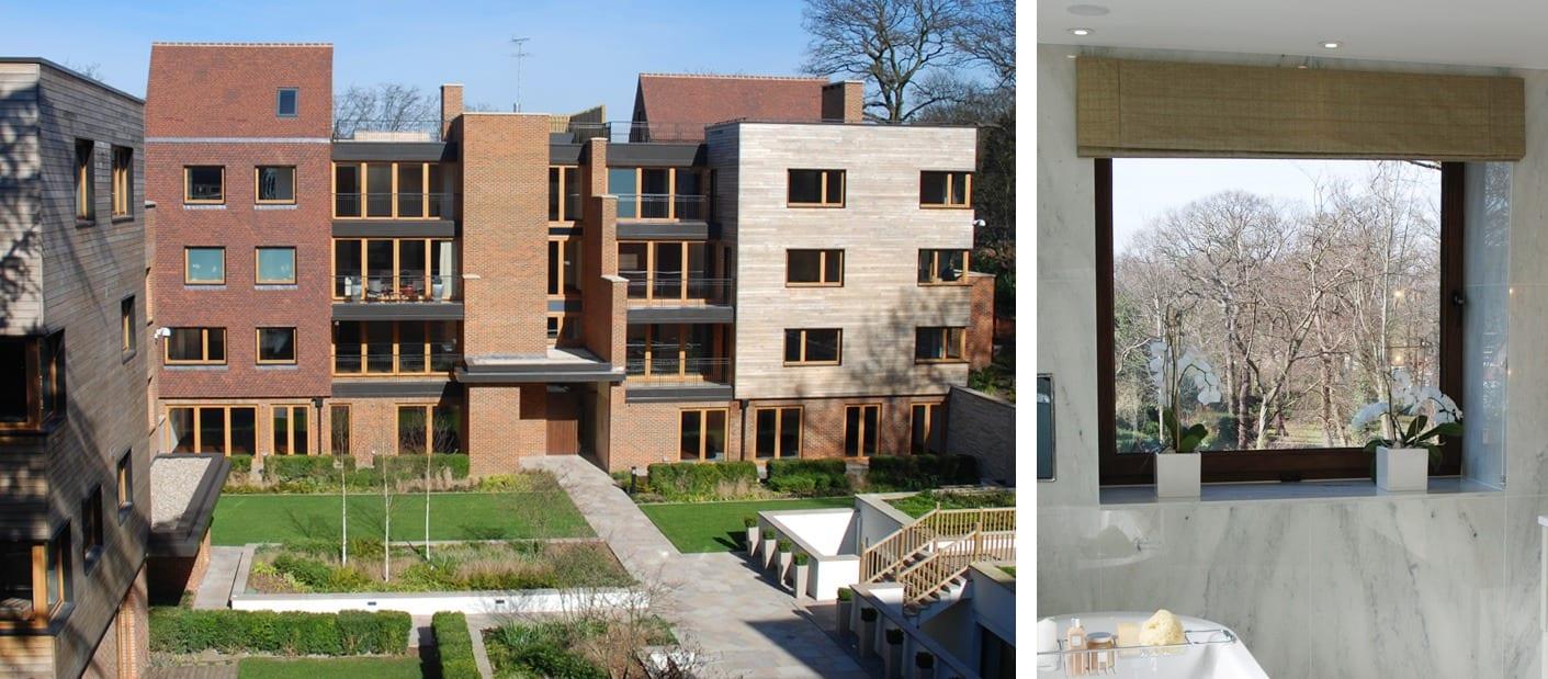 Internal and external views of the Kedleston tilt and turn windows