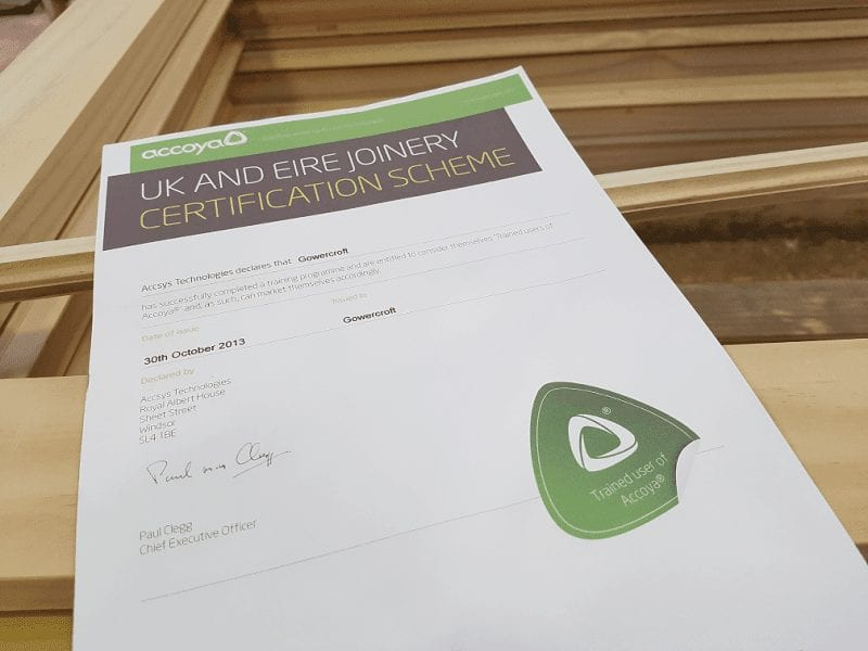 UK joinery scheme award certification