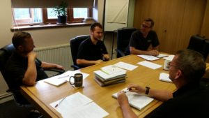 Greg in a meeting with the Gowercroft Window Design Team in the board room