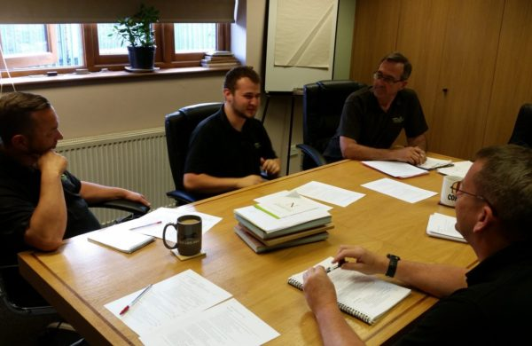 A quality and HS meeting in progress at the Gowercroft window manufacturer offices