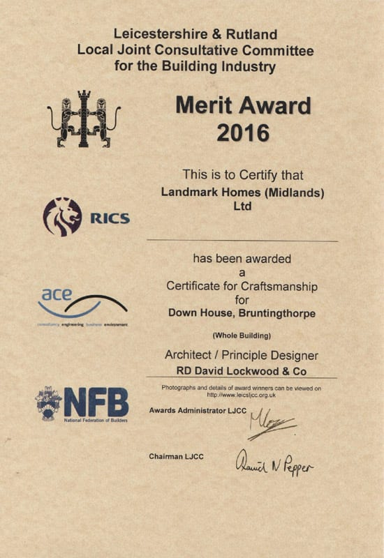 Leicestershire and Rutland Local Joint Consultative Committee award of merit