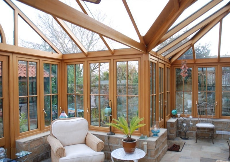 gallery conservatory from the inside showing natural wood stain