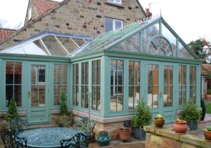 Large wooden conservatory made from accoya wood