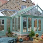 gallery conservatory with stylish paint on wooden frames