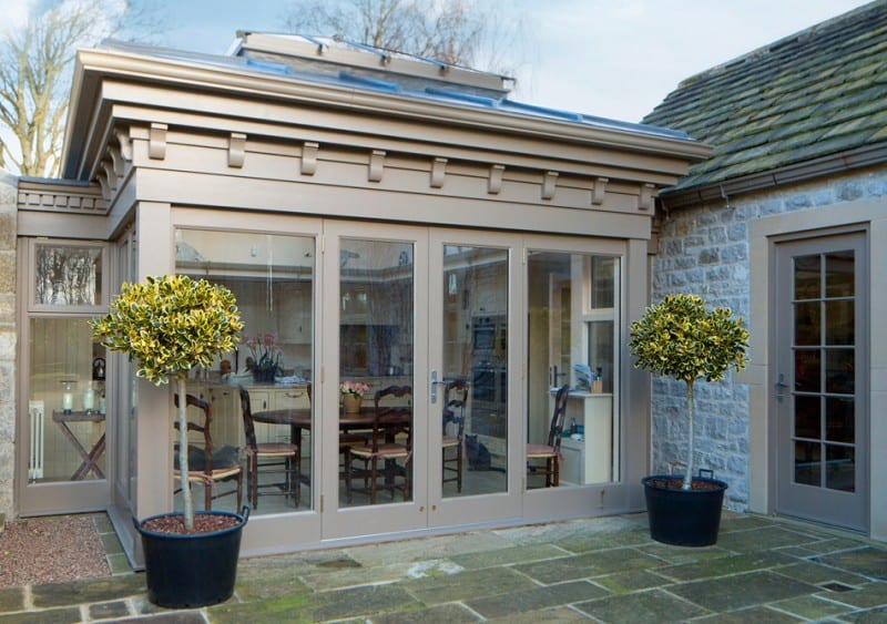 Wooden lift and slide doors fitted to Old Longmoore hall in Derbyshire