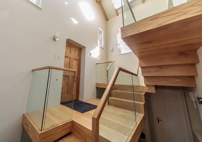 Wooden staircase built from accoya wood by Gowercroft
