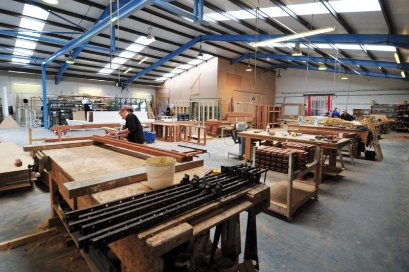 Wooden window workshop with lots of machinery