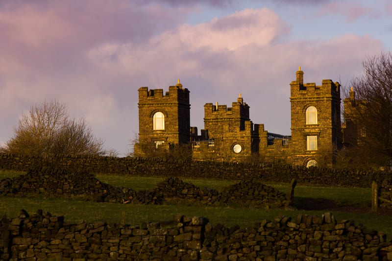 Riber Castle shot in sunset elevation