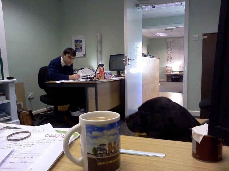 Sales Director Dave and his dog keeping each other company while designing wooden windows