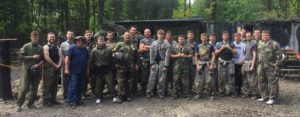 A team of windows manufacturers paintballing in Nottinghamshire