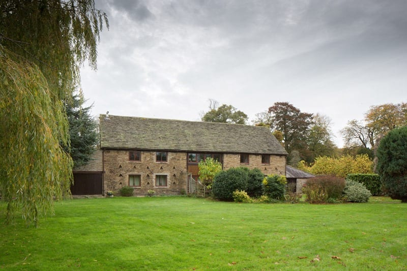 View of the barn conversion from the Derbyshire countryside