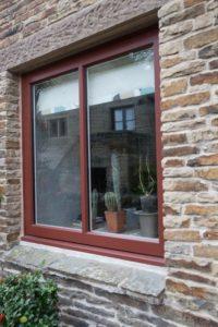 close up of bespoke hardwood casement window