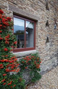 Alternative view of small hardwood casement window