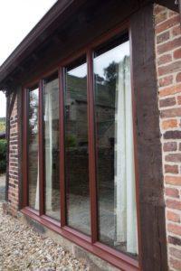 Alternative view of bespoke hardwood bifold doors