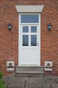 6 panel single Melbourne door 4 glass panels 2 timber panels top fan light painted off white