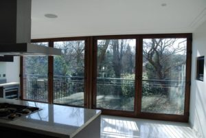 Dark stain hardwood Peveril lift and slide door