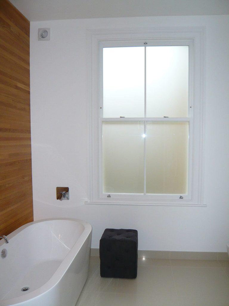 Chatsworth sliding sash Victorian acid etched bathroom