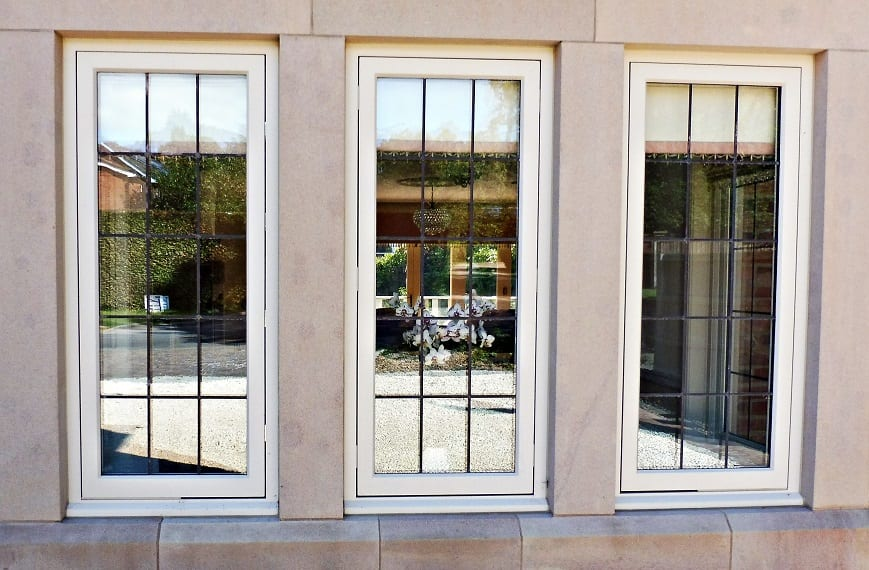 Hardwick casement accoya windows stone mullions square lead glass painted strutt yellow
