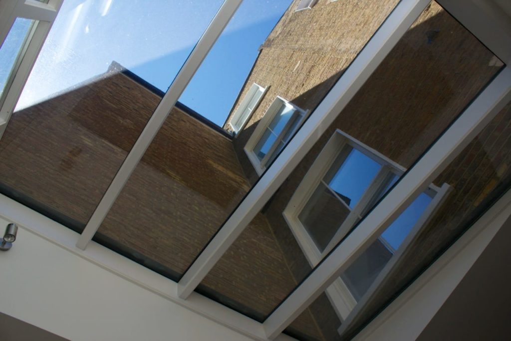 Roof detail for single pitch conservatory roof internal view