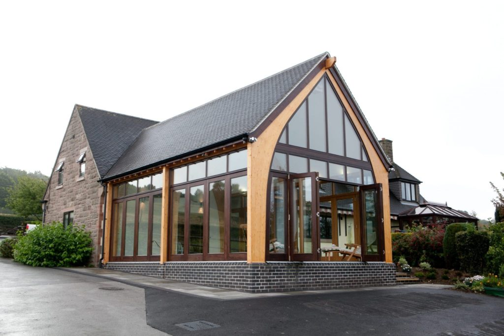Bifold doors to swimming pool gym extension