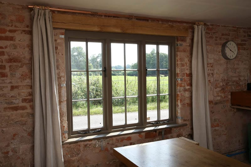 Internal view of the heritage casement windows at Colliers Oak Farm near Fillongley