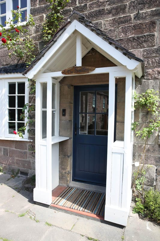 Melbourne hardwood door from the Gowercroft range painted Stiffkey Blue and fitted to the Smithy Cottage in Whatstandwell.