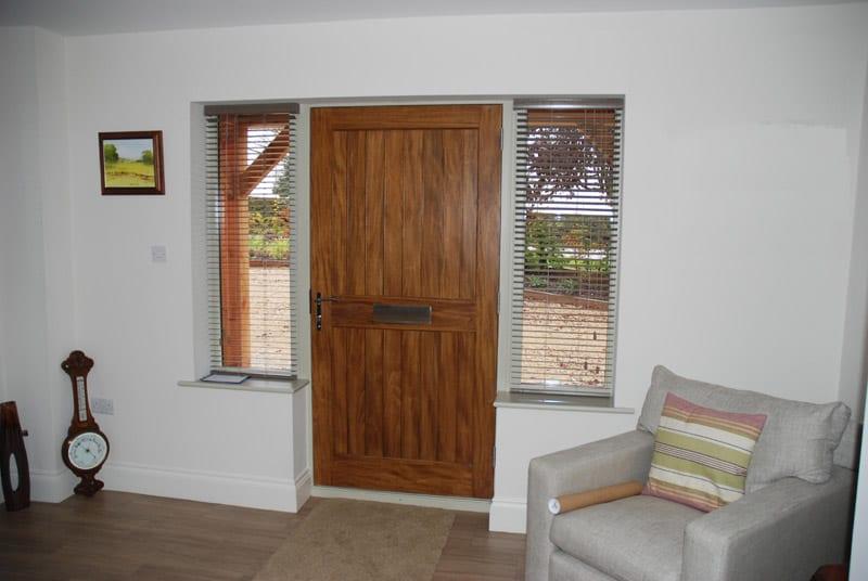 Melbourne accoya door with hardwick casement winglights Oak stained in Walnut finish from inside