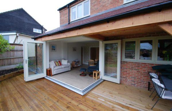 Tutbury corner bifold door open external view