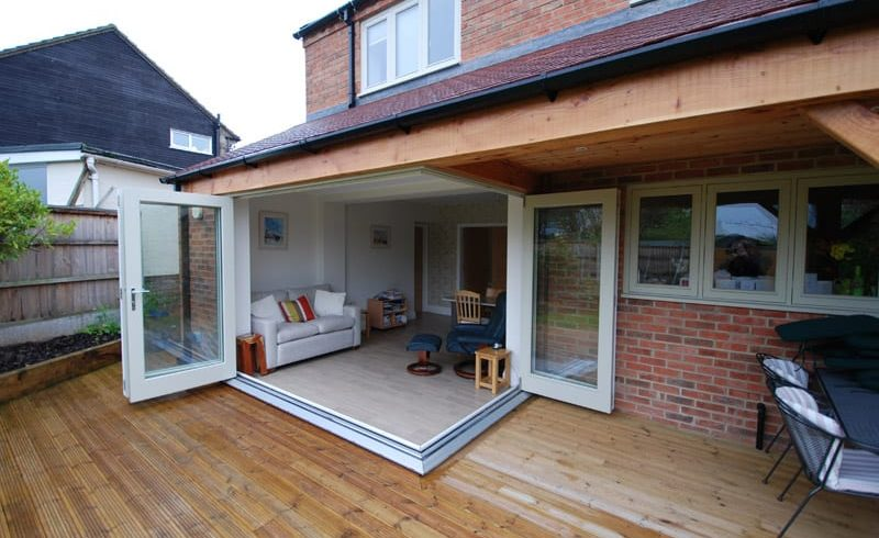 Tutbury corner bifold door open external view