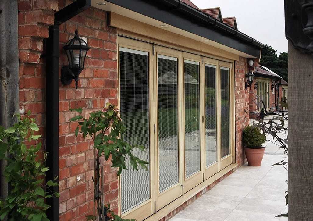 Peveril lift and slide doors made from accoya - timber patio doors made by Gowercroft Joinery