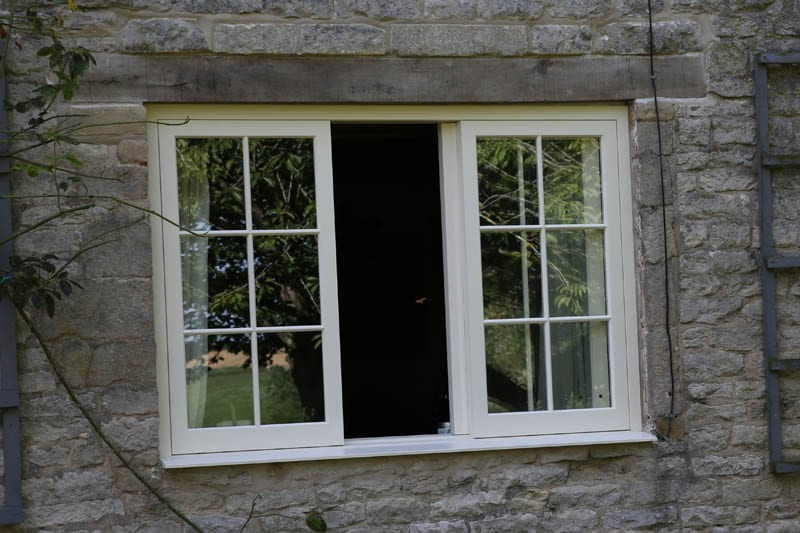 Belton heritage horizontal sliding sash window open from front in listed building installation from Gowercroft Joinery