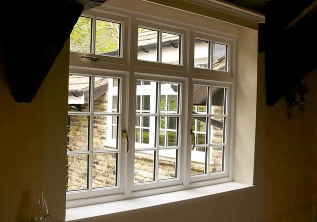 Inside shot of Hardwick flush casement timber window installed in a traditional derbyshire home