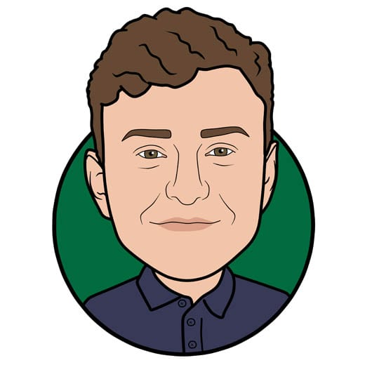 Cartoon image of Alex Briddon sales at Gowercroft Joinery wooden window manufacturer in Alfreton