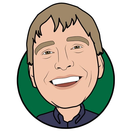 Cartoon image of David Brown sales at Gowercroft Joinery wooden window manufacturer in Alfreton