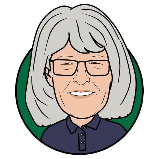 Cartoon image of Sue Wickes of Gowercroft Joinery wooden window manufacturer in Alfreton
