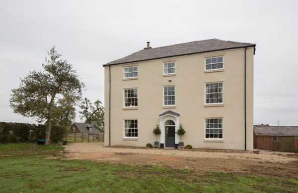 Elevation render Chatsworth sliding sash windows Georgian bars astragals painted off white
