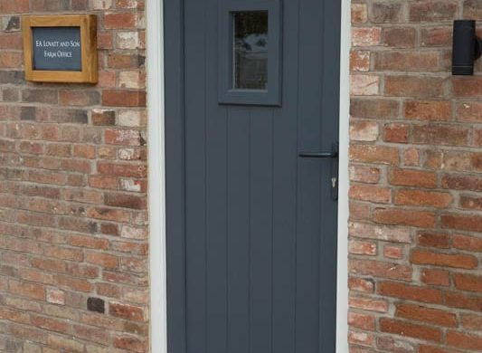 Melbourne single door Stephenson leaf white frame painted vision panel groove brick external view close up