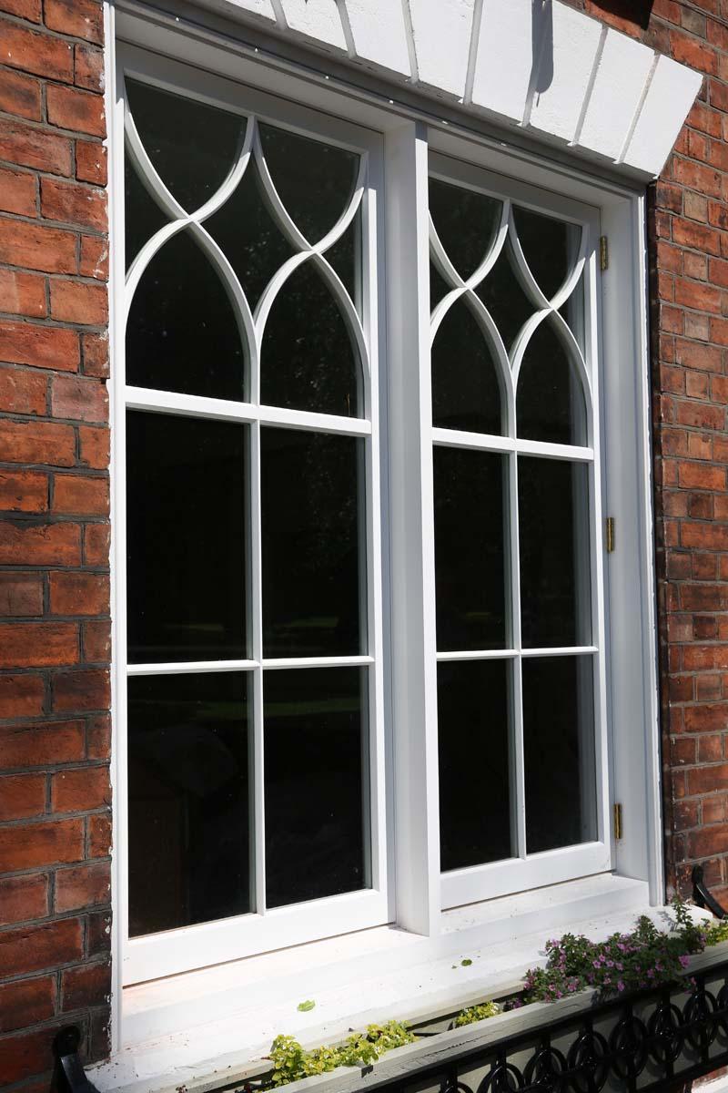 Richmond gothic casements painted white brick flower box 4