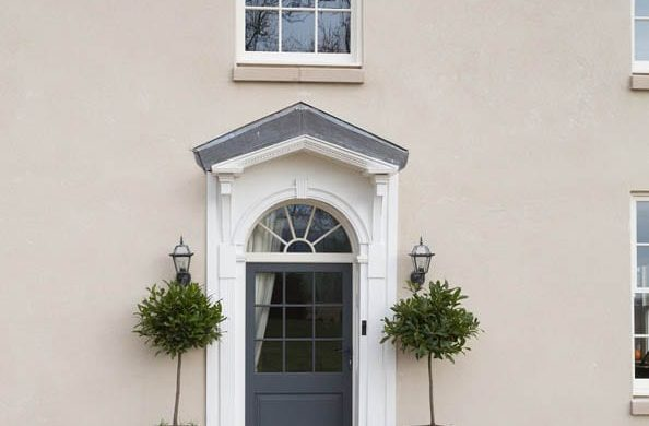 Single Melbourne door Stephenson leaf white frame painted render canopy curved top light fan light sunshine astragal bars Chatsworth sliding sash painted white