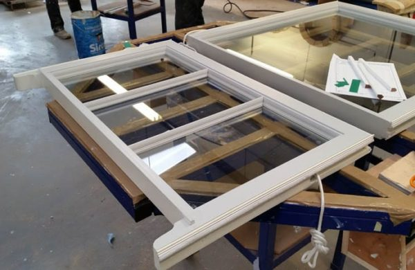 A heritage sash window under construction