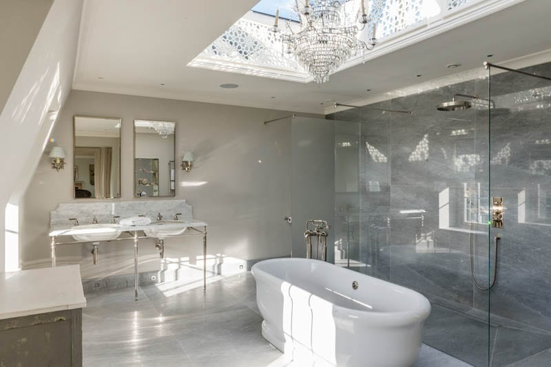 Bathroom at Templeton House after renovation showing bespoke skylight by Gowercroft Joinery