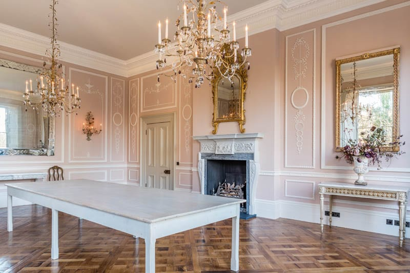 A sumptuous dining room in Templeton house showing the extensive renovation work