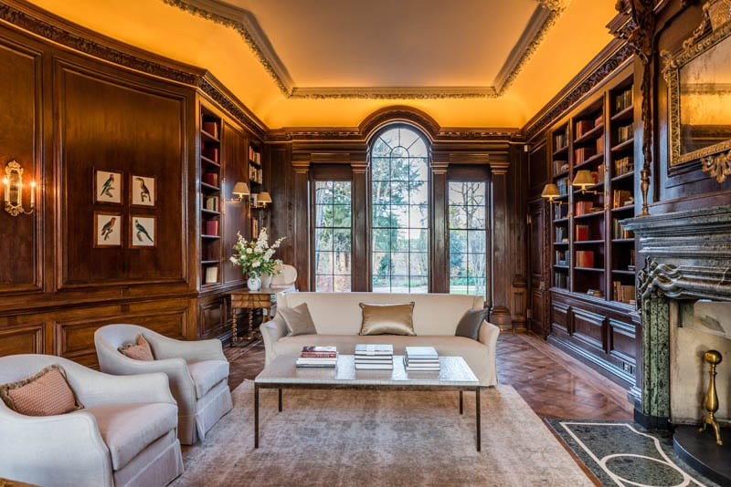 A lovely drawing room in Templeton House London with library and arch top heritage windows