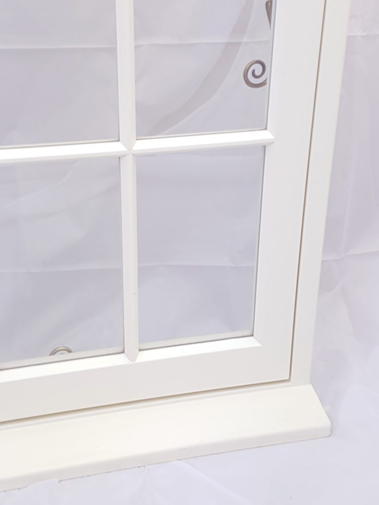 close up of astragals on spacia vacuum double glazing a perfect replacement window in a conservation area