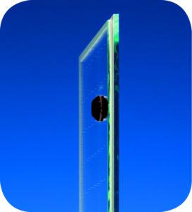 Pilkington SpaciaTM vacuum glazing cross section showing the plug where the vacuum cavity is evacuate