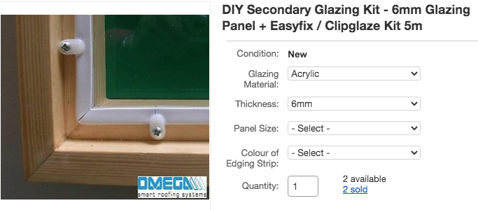 Secondary double glazing instead of replacing single glazing, a listing from Ebay